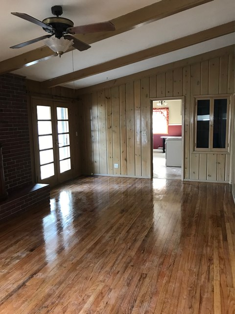 Living Room - hardwood floor and cathedral ceiling