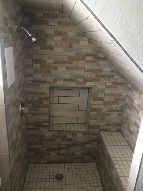 Tile Shower in Basement Bathroom